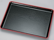 Plastic Ikkyu Rectangle Tray - Black w/red line on top